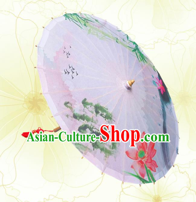 Handmade China Traditional Folk Dance Umbrella Printing Lotus Oil-paper Umbrella Stage Performance Props Umbrellas