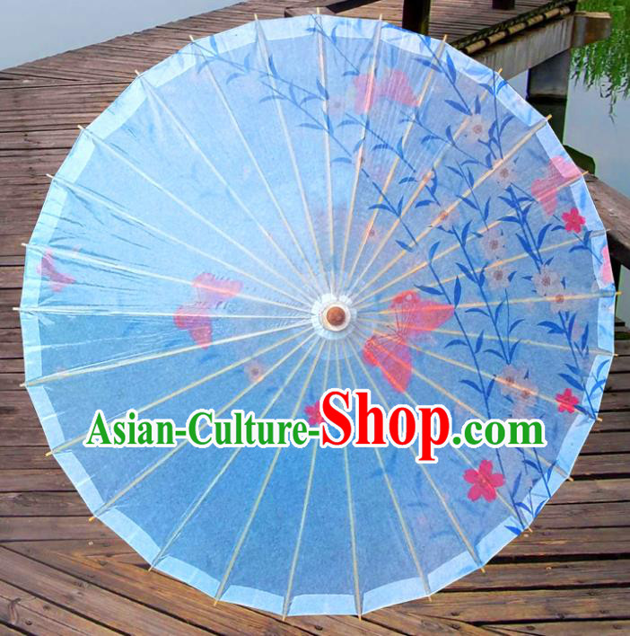 China Traditional Folk Dance Umbrella Hand Painting Flowers Blue Oil-paper Umbrella Stage Performance Props Umbrellas