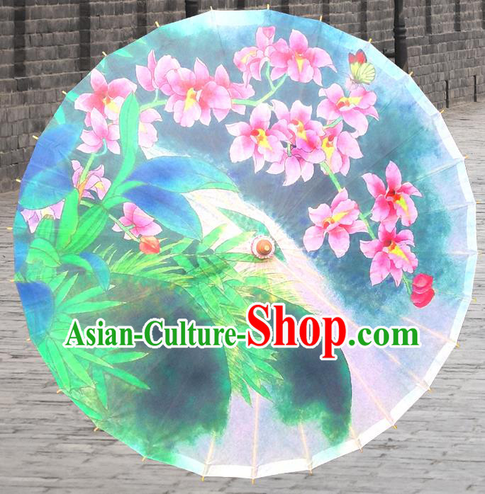 China Traditional Folk Dance Paper Umbrella Hand Painting Flowers Oil-paper Umbrella Stage Performance Props Umbrellas