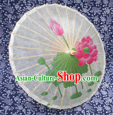 Handmade China Traditional Folk Dance Umbrella Stage Performance Props Umbrellas Painting Lotus Oil-paper Umbrella
