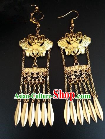 Traditional Handmade Chinese Ancient Princess Hanfu Golden Lotus Tassel Eardrop Accessories Classical Earrings for Women