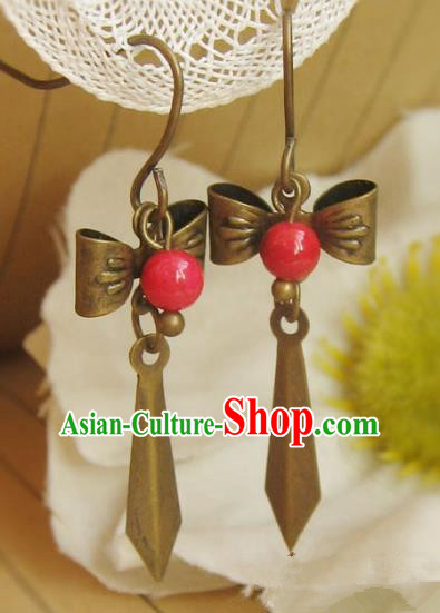Traditional Handmade Chinese Ancient Princess Hanfu Bowknot Eardrop Classical Earrings for Women