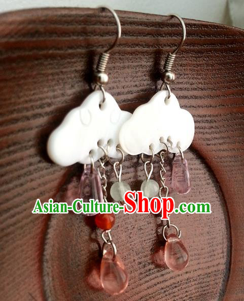 Traditional Chinese Handmade Classical Hanfu Shell Eardrop Ancient Palace Queen Earrings for Women