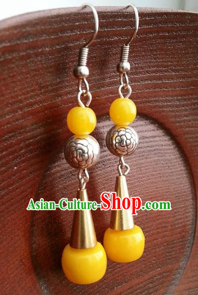Traditional Chinese Handmade Classical Hanfu Yellow Beads Eardrop Ancient Palace Princess Earrings for Women