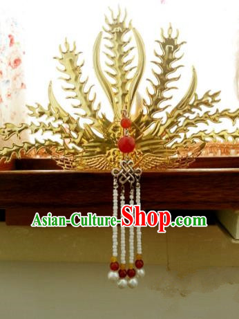 Traditional Handmade Chinese Classical Hair Accessories Ancient Princess Golden Hairpins Phoenix Coronet for Women