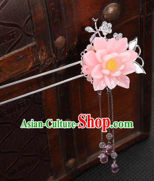 Handmade Asian Chinese Classical Hair Accessories Pink Flower Hair Clip Ancient Hanfu Hairpins for Women