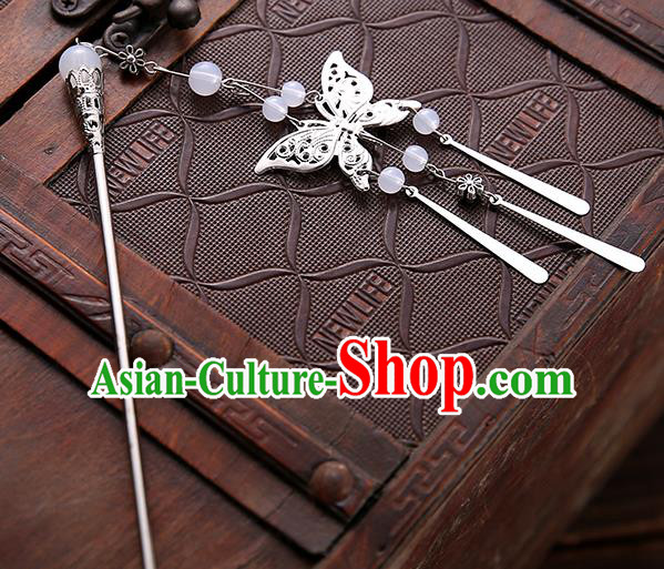 Asian Chinese Handmade Classical Hair Accessories White Beads Butterfly Tassel Hair Clip Hanfu Hairpins for Women
