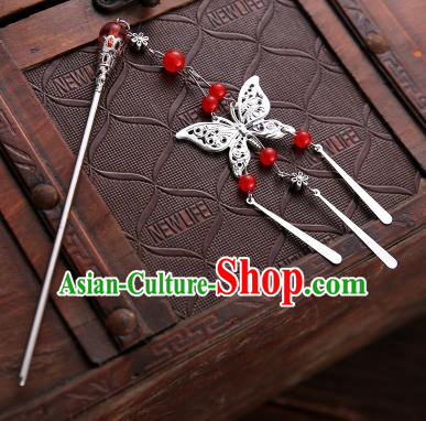 Asian Chinese Handmade Classical Hair Accessories Red Beads Butterfly Tassel Hair Clip Hanfu Hairpins for Women