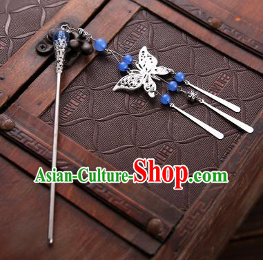 Asian Chinese Handmade Classical Hair Accessories Blue Beads Butterfly Tassel Hair Clip Hanfu Hairpins for Women