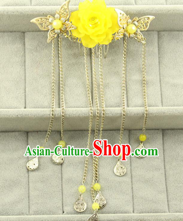 Asian Chinese Handmade Classical Hair Accessories Princess Yellow Flowers Hairpins Butterfly Hair Comb for Women