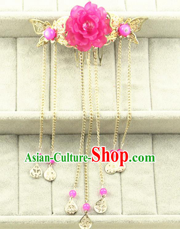 Asian Chinese Handmade Classical Hair Accessories Princess Rosy Flowers Hairpins Butterfly Hair Comb for Women