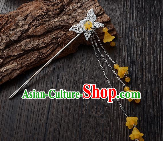 Handmade Asian Chinese Classical Hair Accessories Butterfly Hairpins Hanfu Yellow Tassel Step Shake for Women