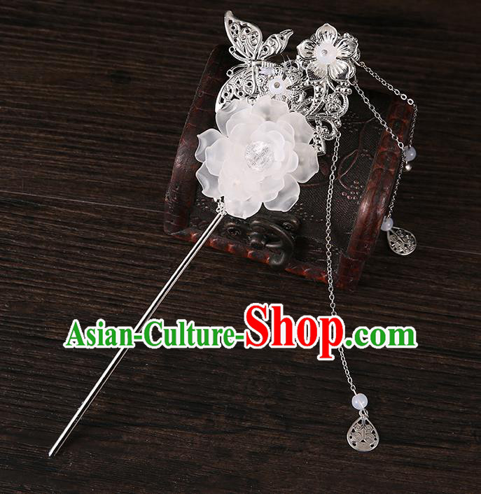 Handmade Asian Chinese Classical Hair Accessories Butterfly Flower Hairpins Hanfu Tassel Hair Stick for Women