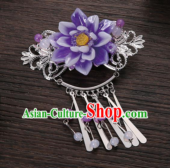 Asian Chinese Handmade Classical Hair Accessories Purple Flower Tassel Hair Comb Hairpins for Women