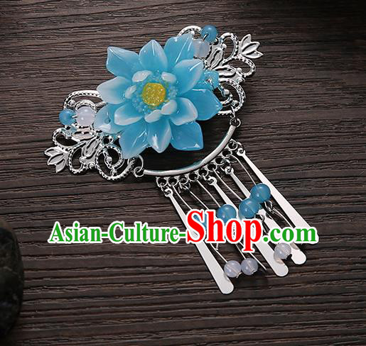 Asian Chinese Handmade Classical Hair Accessories Blue Flower Tassel Hair Comb Hairpins for Women