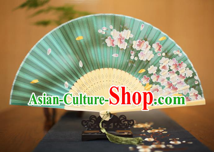 Traditional Chinese Crafts Printing Flowers Green Folding Fan, China Sensu Paper Fans for Women
