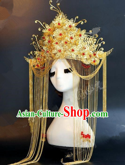 Chinese Ancient Handmade Classical Wedding Hair Accessories Xiuhe Suit Headwear Hairpins Phoenix Coronet for Women
