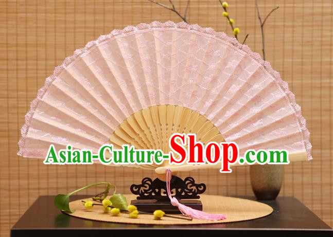 Traditional Chinese Crafts Pink Lace Folding Fan Hollow Out Flowers Fans for Women