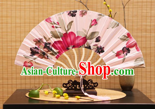Traditional Chinese Crafts Printing Flowers Pink Silk Folding Fan Sensu Fans for Women