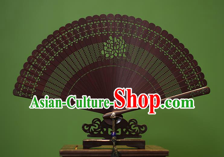 Traditional Chinese Crafts Folding Fan Hollow Out Rose Bamboo Fans for Women