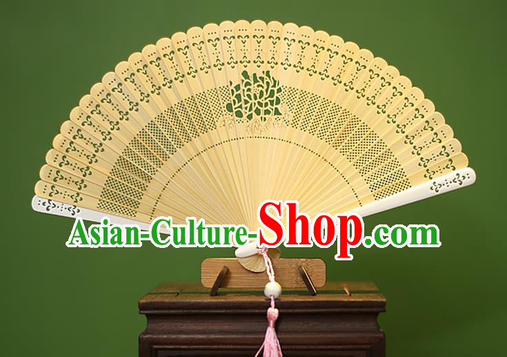 Traditional Chinese Crafts Yellow Folding Fan Hollow Out Bamboo Fans for Women