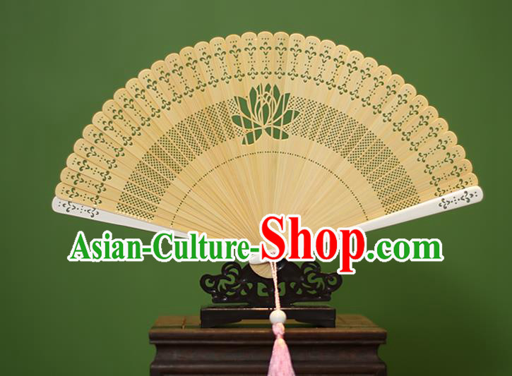 Traditional Chinese Crafts Yellow Folding Fan Hollow Out Lotus Bamboo Fans for Women