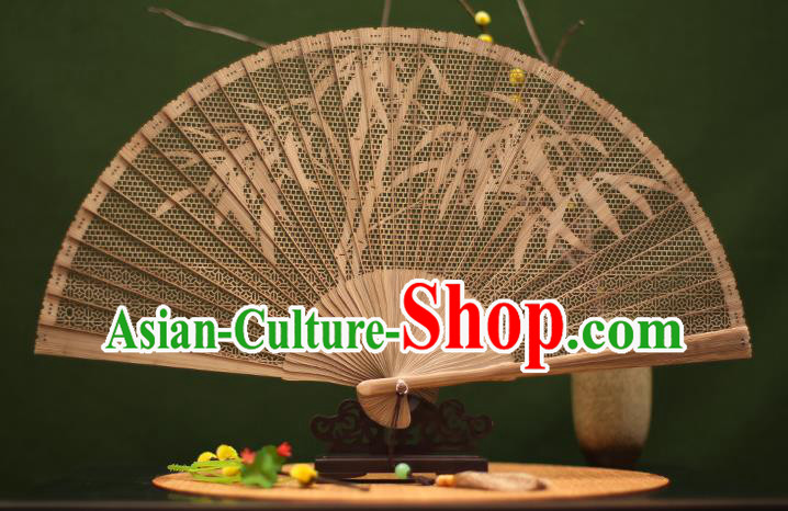 Traditional Chinese Crafts Sandalwood Folding Fan, Chinese Hollow Out Bamboo Fans for Women