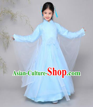 Traditional Chinese Han Dynasty Palace Lady Costume, China Ancient Princess Fairy Hanfu Dress Clothing for Kids