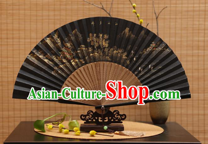 Traditional Chinese Crafts Hand Painting Landscape Silk Folding Fan, China Handmade Bamboo Fans for Women