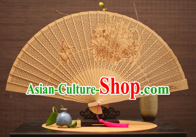 Traditional Chinese Crafts Sandalwood Folding Fan, China Handmade Hollow Out Chrysanthemum Incienso Fans for Women