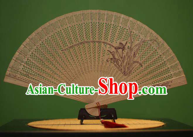 Traditional Chinese Crafts Sandalwood Folding Fan, China Handmade Carving Orchid Incienso Fans for Women