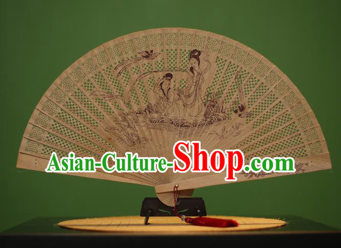 Traditional Chinese Crafts Sandalwood Folding Fan, China Handmade Carving Fairy Incienso Fans for Women