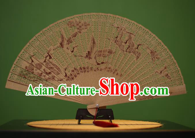 Traditional Chinese Crafts Sandalwood Folding Fan, China Handmade Carving Cranes Incienso Fans for Women