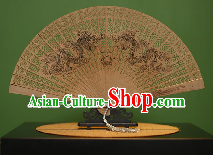 Traditional Chinese Crafts Sandalwood Folding Fan, China Handmade Carving Dragons Incienso Fans for Women