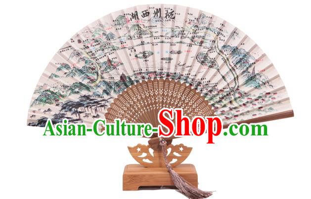 Traditional Chinese Crafts Printing West Lake Scenery Classical Folding Fan, China Handmade Silk Fans for Women