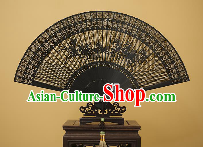 Traditional Chinese Crafts Hollow Out Horse Folding Fan, China Handmade Sandalwood Black Fans for Women