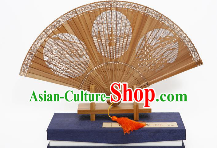 Traditional Chinese Crafts Hollow Out West Lake Folding Fan, China Handmade Sandalwood Fans for Women