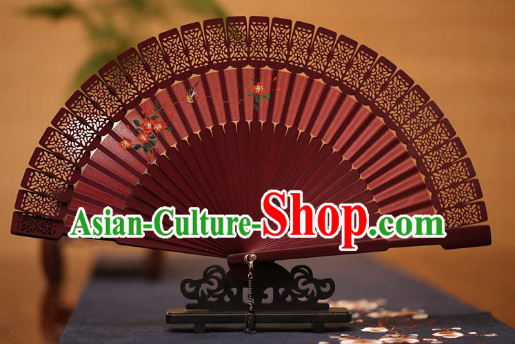 Traditional Chinese Crafts Hand Painting Folding Fan, China Handmade Classical Carving Red Fans for Women