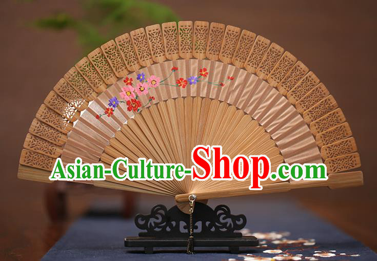 Traditional Chinese Crafts Hand Painting Folding Fan, China Handmade Classical Carving Fans for Women