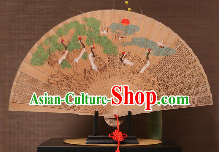 Traditional Chinese Crafts Hand Painting Crane Folding Fan, China Handmade Classical Carving Sandalwood Fans for Men