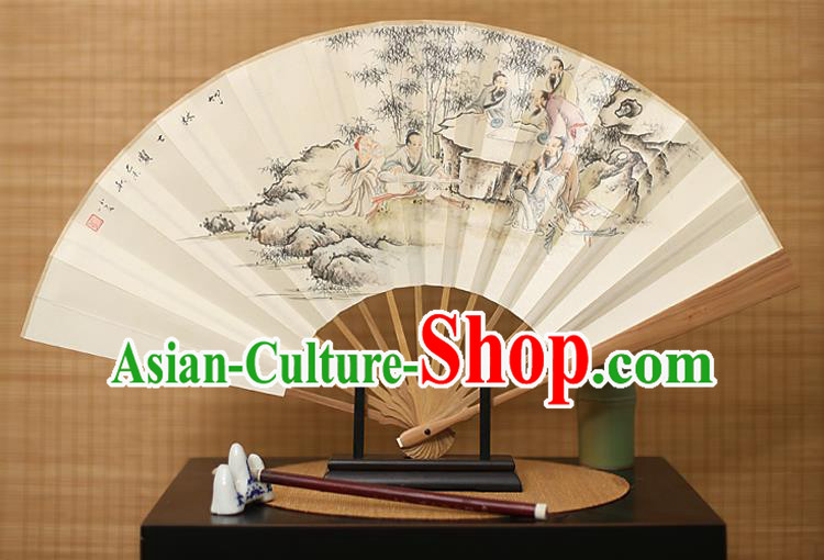 Traditional Chinese Crafts Ink Painting Paper Folding Fan, China Handmade Sandalwood Fans for Men