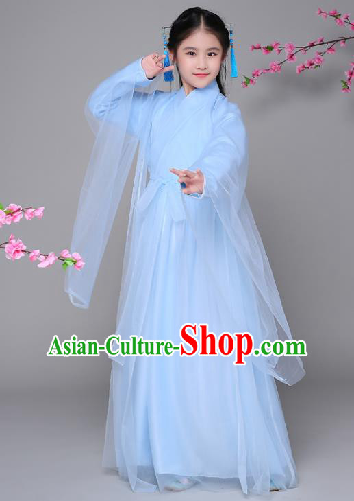 Traditional Chinese Ancient Princess Blue Dress, China Han Dynasty Palace Lady Fairy Hanfu Clothing for Kids