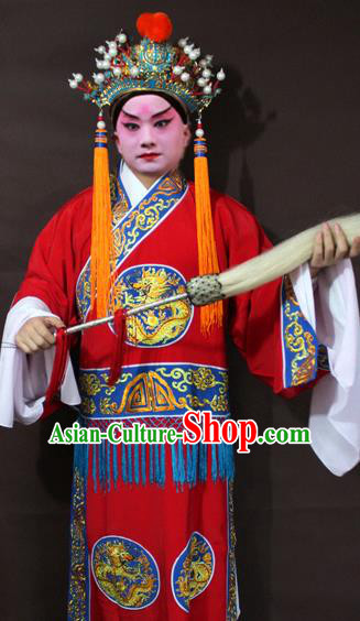 Traditional China Beijing Opera Court Eunuch Embroidered Costume, Chinese Peking Opera Old Men Clothing