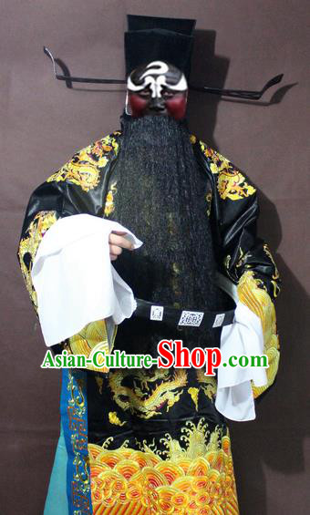 Traditional China Beijing Opera Prime Minister Costume Black Embroidered Robe, Chinese Peking Opera Bao Zheng Gwanbok