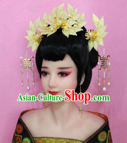 Traditional Chinese Handmade Hair Accessories Princess Hairpins Golden Flower Phoenix Coronet Complete Set for Women