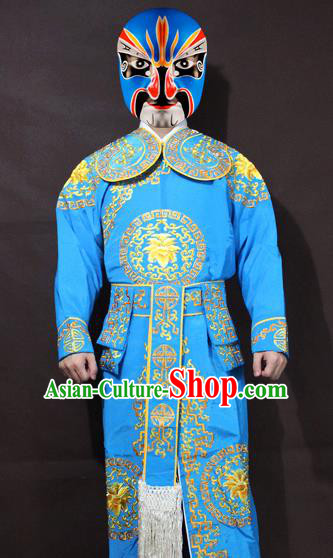 Traditional China Beijing Opera Takefu Embroidery Blue Costume, Chinese Peking Opera Soldiers Embroidered Clothing