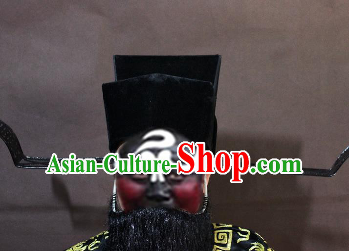 Traditional China Beijing Opera Prime Minister Hats, Chinese Peking Opera Minister Headwear