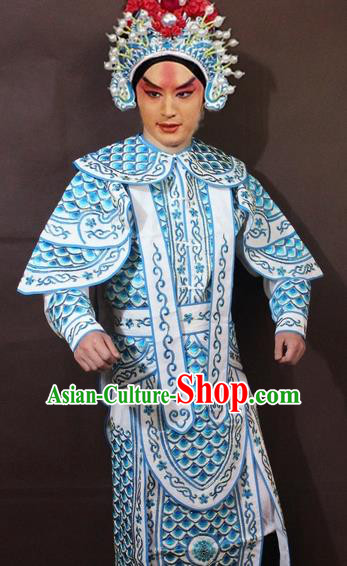 Traditional China Beijing Opera Takefu Embroidered White Costume, Chinese Peking Opera Warrior Clothing