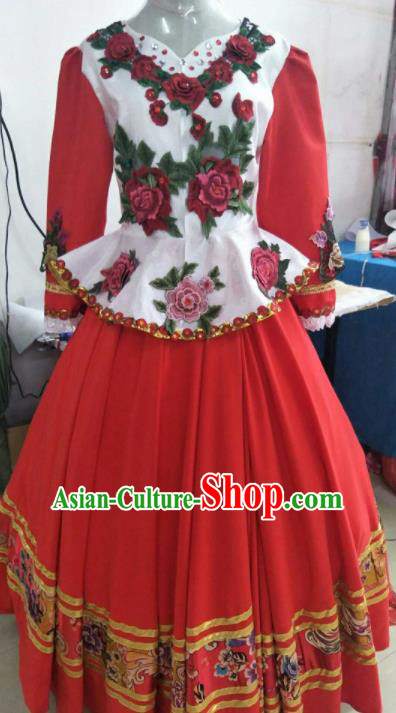 Professional Opening Dance Costume Stage Performance Russia Modern Dance Red Dress for Women
