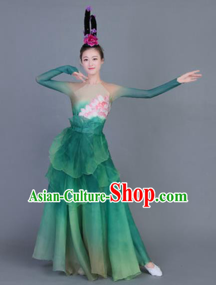 Chinese Traditional Classical Dance Costume Folk Dance Lotus Dance Green Dress for Women
